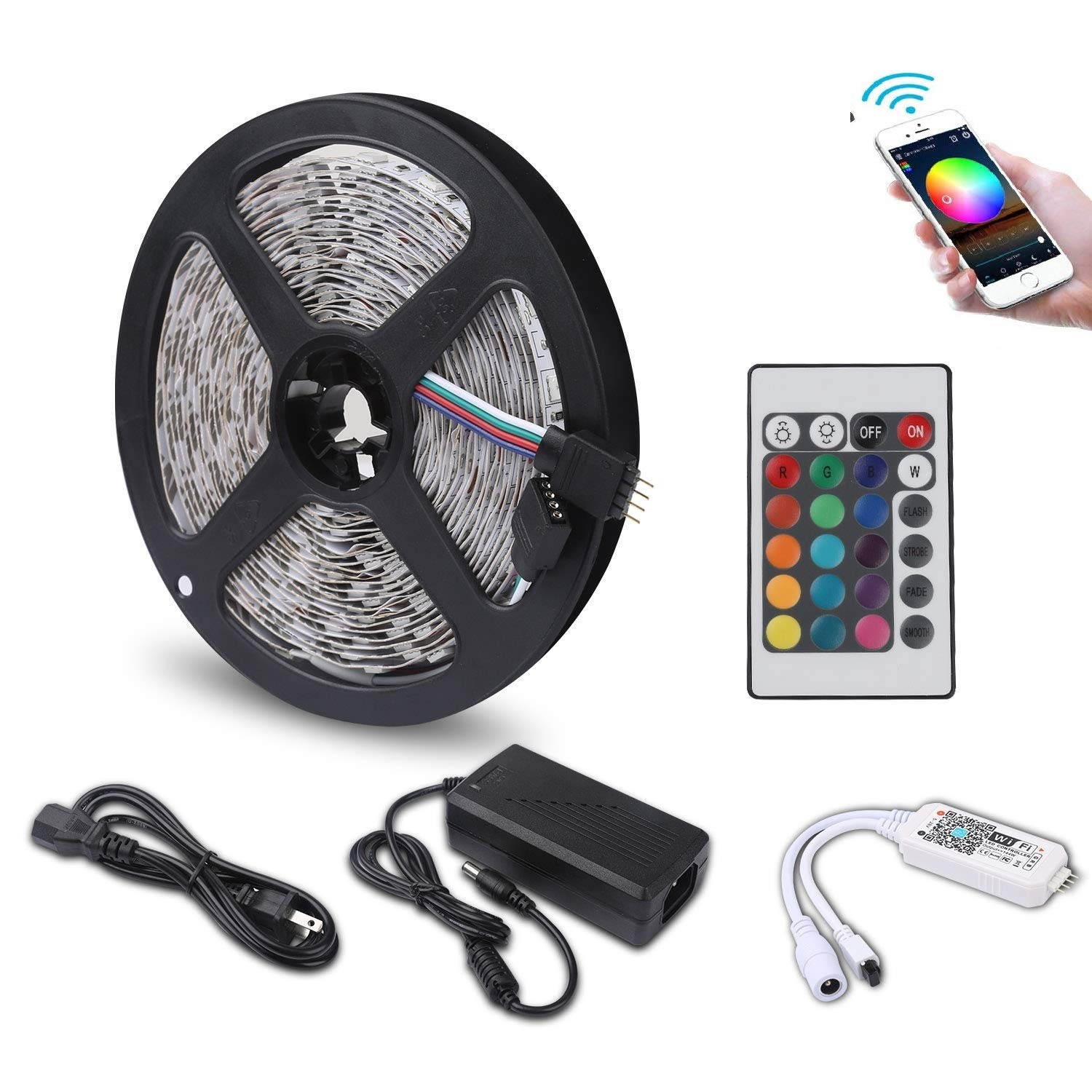 WiFi Smart Phone APP Remote Controlled LED SMD 5050 Rope RGB Strip Light  (RGB, 15ft/4 5 m)